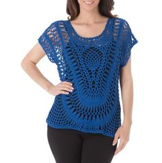 Short Sleeve Crochet Top - Spring Fashion Tops for Mom - Events.  Hairpin lace