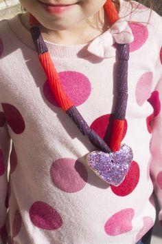 pasta necklace kids valentine's heart