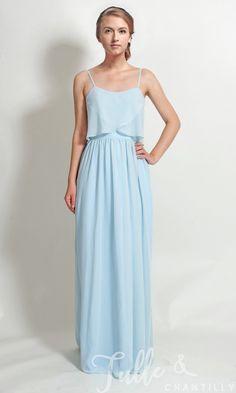 fc687e81a59 Long Chiffon Flutter Neckline Bridesmaid Dress with Spaghetti Straps TBQP344