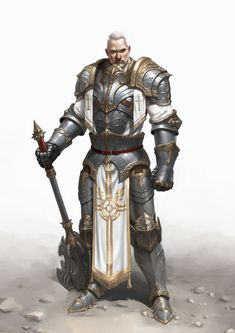 Male human cleric priest paladin knight warrior old Fantasy Male, Fantasy Armor, Medieval Fantasy, Fantasy Character Design, Character Concept, Character Art, Armadura Medieval, Samurai, Dnd Characters