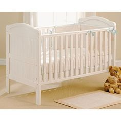 East Coast Country Cot Bed White Nursery Mattresses George At Asda It Comes With 2 Protective Teething Rails Has 3 Base Heights And Fixed Sides