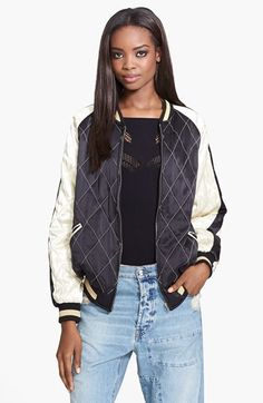 McQ by Alexander McQueen Quilted Silk Bomber Jacket available at #Nordstrom