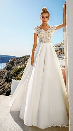 Eva Lendel 2017 bridal short sleeves v neck heavily embellished bodice romantic pretty a  line wedding dress sheer v back royal train (sidny) mv #wedding #bridal #weddingdress