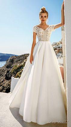 Eva Lendel 2017 bridal short sleeves v neck heavily embellished bodice romantic pretty a line wedding dress sheer v back royal train (sidny) mv #wedding #bridal #weddingdress