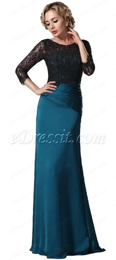 Modest top lace blue mother of the bride dress! #edressit #mob #formal dress