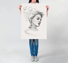 LARGE wall ART Surrealist art print black and white pencil drawing portrait Avant Garde print on thick white paper geometric shapes by DrawingIllustration