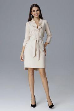 Cocktail dress model 126002 Figl – Blushgreece.shop Beige, Models, Off White, Stiletto Heels, Cocktails, Dresses For Work, Shirt Dress, Chic, Jackets