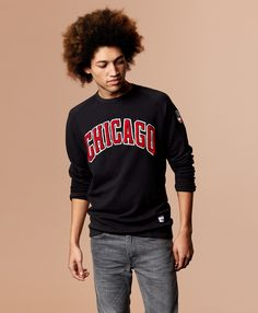 Cheer on Chicago in this comfortable crew. Pair it with dark denim to finish off your game day look. Men With Street Style, Dark Denim, Dapper, Outfit Of The Day, Like4like, Menswear, Graphic Sweatshirt, Levis, Sweatshirts