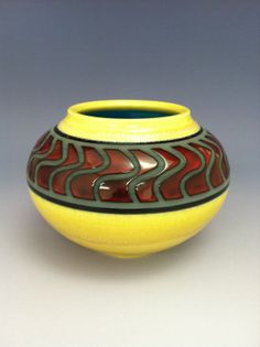Handmade Art Pottery Home Decor Wave Vessel Red by PelkaClayArt, $65.00