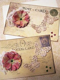 Vintage postcard set of 6 handmade cards Thank by littledebskis Vintage Greeting Cards, Vintage Postcards, Postcard Invitation, Invitations, Thank You Notes, White Envelopes, Handmade Cards, Paper Flowers, Panda