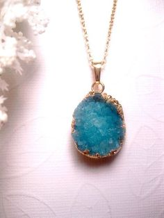 Crystal Necklace - Turquoise Druzy With 24k Gold Plated edging - Geode - Raw