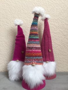 Upcycled Luxury Sweater Gnomes Set of 3 Scandinavian tomte& Swedish Christmas, Christmas Gnome, Christmas Projects, Holiday Crafts, Holiday Fun, Scandinavian Gnomes, Recycled Sweaters, Christmas Decorations, Christmas Ornaments