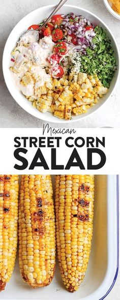 Take dinner up a notch and add this Mexican Street Corn Salad to the menu! This delicious healthy side dish is made with grilled corn, fresh veggies, and the most delicious cotija yogurt sauce. Drop everything you're doing and make this Mexican Street Corn Salad today!