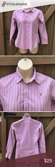 Ralph Lauren pink slim fit button down size 14 Size 14 Ralph Lauren pink slim fit button down: LOCATION: BIN 8 Ralph Lauren Tops Button Down Shirts