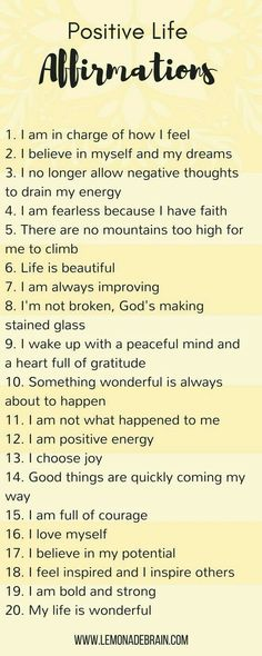 Quotes Sayings and Affirmations Positive life affirmations - Lemonade Brain. Self love. Positive Quotes For Life Encouragement, Positive Quotes For Life Happiness, Positive Thoughts, Quotes Positive, Positive Mindset, Positive Vibes, Quotes Español, Motivational Quotes, Life Quotes