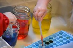 Color Mixing Scientists -- Experimenting, Color Mixing, and Fine Motor Skills  (Plus it's loads of fun!)