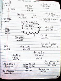 Names of Christ / Namen van Jezus ; Stone Soup for Five: Bible Journal Bible Study Notebook, Bible Study Tips, Bible Study Journal, Scripture Study, Bible Art, Bible Bullet Journaling, Scripture Journal, Art Journaling, Bible Prayers