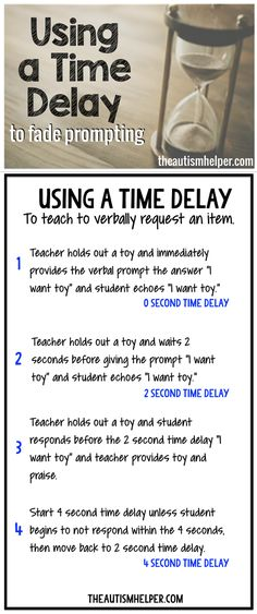Tips for using time delays to fade prompting on the blog! From theautismhelper.com #theautismhelper