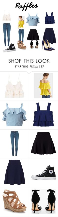 """Ruffled tops"" by percabeth0712 ❤ liked on Polyvore featuring MANGO, Miss Selfridge, Tory Burch, River Island, Kenzo, Converse, Jennifer Lopez and Boohoo"