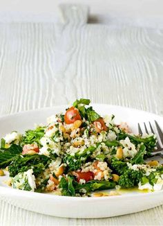 Bulgar wheat, feta and broccoli salad