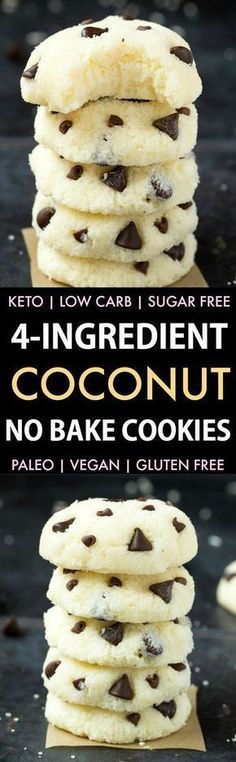 4 Ingredient No Bake Coconut Cookies (Keto Paleo Vegan Sugar Free)- An easy recipe for soft coconut cookies. 4 Ingredient No Bake Coconut Cookies (Keto Paleo Vegan Sugar Free)- An easy recipe for soft coconut cookies. Low Carb Desserts, Healthy Desserts, Low Carb Recipes, Cooking Recipes, Diabetic Recipes, Sugar Free Recipes Easy, Paleo Vegan Recipes Dinner, Easy Low Carb Dessert, Paleo Recipes For Kids
