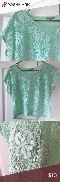 Mint Crochet Top Excellent condition mint green crochet top. Like new! Crochet on one side and jersey material on the back. Size M. Slightly cropped Charlotte Russe Tops Tees - Short Sleeve