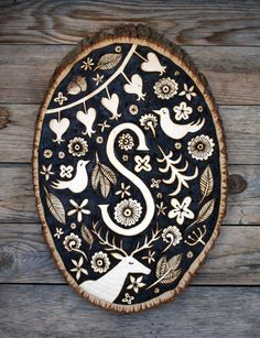 Custom Made-To-Order Woodburned Monogram Plaque on Etsy, $125.00