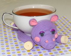 Coasters for drinks Pink Little piggy Stand for by QuillingLife