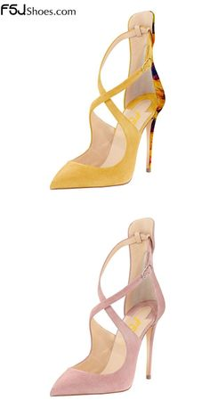Women's Style Pumps and D'orsay Heels Winter Fashion Wedding Ideas Elegant Wedding Dresses Shoes Wedding Dresses Flowy Women's Yellow, Pink Suede Pointy Toe Cross-over Strap Stiletto Heels Prom Shoes Christmas Party Outfit Christmas Gifts For Friends  FSJ
