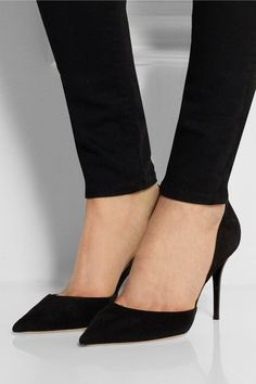 Heel measures approximately 85mm/ 3.5 inches Black suede Slip on