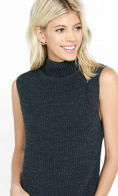 Sleeveless Mock Neck Rounded Hem Sweater from EXPRESS