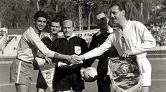 Brazil 0 Czechoslovakia 0 in 1962 in Vina del Mar. The captains, Mauro Ramos and Ladislav Novak, meet before their Group 3 game at the World Cup Finals.