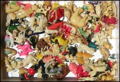 Celluloid Cracker Jack charms (1940's)