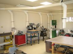 Page Dust collection and air filtration in the workshop? Shops and Storage Workshop Layout, Workshop Design, Garage Workshop, Workshop Plans, Workshop Ideas, Shop Storage, Shop Organization, Garage Storage, Woodworking Shop Layout