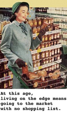 Grocery shopping housewife, wearing gloves a suit and stockings of course Retro Humor, Vintage Humor, Vintage Ads, Vintage Shops, Retro Ads, Retro Funny, Funny Vintage, Retro Images, Vintage Images
