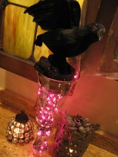 lights in vase-  nice as a kitchen night light when we have company