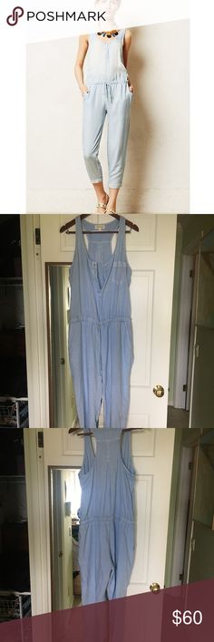Anthropologie Cloth & Stone Chambray Jumpsuit Soooo cute!!! Just didn't fit my body right! Really soft and comfortable. Has tightening string around the waist and buttons at the chest. Can easily be worn out casually or dressed up a bit for a night out!! 🌃  ~~~ don't be hesitant to offer a price on this item or the other items I've listed in my closet!! ❤️❤️❤️ Anthropologie Pants Jumpsuits & Rompers
