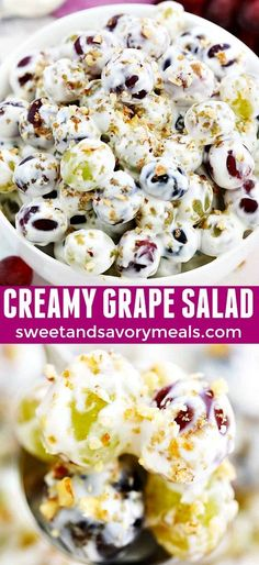 Grape salad is a simple dessert that can be easily prepared on a whim. An easy r. Grape salad is a simple dessert that can be easily prepared on a whim. An easy recipe with very few ingredients, even those who can't cook can prepare this! Dessert Simple, Dessert Salads, Fruit Salad Recipes, My Recipes, Cooking Recipes, Favorite Recipes, Easy Desserts, Dessert Recipes, Easy Potluck Recipes