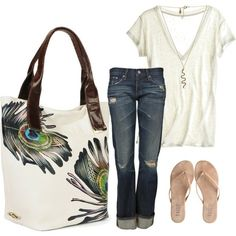 Skinny jeans, white shirt, necklace, flip-flops, colourful statement tote.