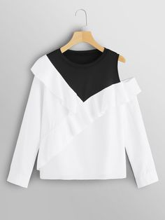 Asymmetrical Shoulder Ruffle Top 2019 Spring Autumn Cut Out Womens Tops And Blouses Long Sleeve Colorblock Women Blouse Crop Top Outfits, Cute Casual Outfits, Pretty Outfits, Stylish Outfits, Girls Fashion Clothes, Teen Fashion Outfits, Fashion Dresses, Mode Kawaii, Jugend Mode Outfits