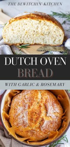 This Dutch Oven Bread with garlic and rosemary is the perfect flavorful treat. It goes with all your favorite soups, main dishes, or you can eat it alone. Artisan Bread Recipes, Yeast Bread Recipes, Dutch Oven Recipes, Quick Bread Recipes, Pastry Recipes, Soup Recipes, Healthy Recipes, Homemade Soup, Homemade Breads