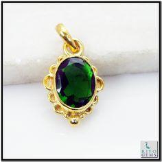 Emerald Cz Gems Stones 18 C Y.G. Plated Tigger Pendant L 1.25in Gppemcz-9613 http://www.riyogems.com