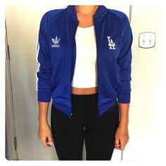 Los Angeles Dodgers Adidas 3/4 sleeve track jacket Only worn twice! Adidas Jackets & Coats
