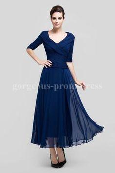 New-Womens-V-neck-Tea-length-Chiffon-Ruching-Mother-Of-The-Bride-Dress-8-18W