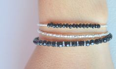 Sterling silver Beaded Onyx Bracelet Beaded Bracelet by 1001bijoux, $29.00