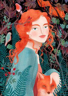 Autumns child Art Print by Petra Braun Illustration - X-Small Autumn Illustration, Portrait Illustration, Cute Illustration, Character Illustration, Illustrations Posters, Art Sketches, Art Drawings, Posca Art, Art Pop