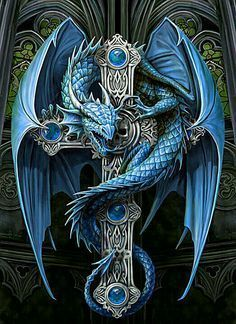 The art of Anne Stokes from fire breathing dragons to light bringing angels, the fantasy art of Anne Stokes has been featured on many book covers, games and merchandise products. Her striking designs and life like portrayals of fantasy subjects… Celtic Dragon Tattoos, Dragon Tattoo Designs, Blue Dragon Tattoo, Anne Stokes, Magical Creatures, Fantasy Creatures, Medieval Tattoo, Art Et Design, Dragon Cross Stitch