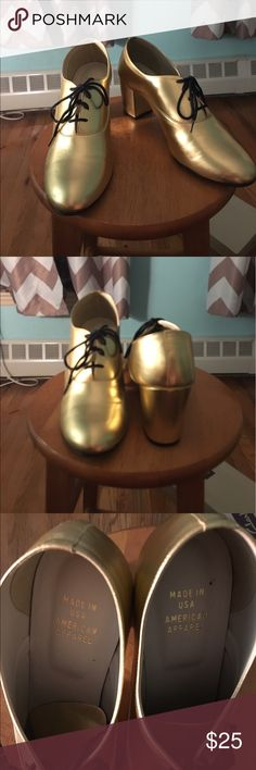American Apparel Metallic Gold Pumps I got these super stylish American Apparel pumps a year ago and only wore them once. They are in great shape and super comfortable if you put an cushion insole in them. #americanapparel #gold #pumps #trendy American Apparel Shoes Heels