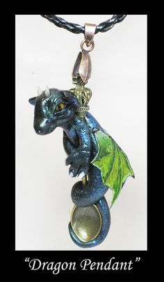Handmade Dragon Pendant Fantasy Magic Polymer Clay