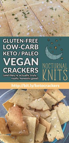 Low-Carb, Keto / Paleo, Gluten-Free Vegan Crackers (and they're good, too! Vegan Keto Recipes, Vegan Gluten Free, Low Carb Recipes, Paleo Vegan, Low Calorie Crackers, Vegan Crackers, Low Calorie Vegan, Low Carb Keto, Cauliflower Gratin